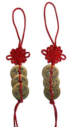 Chinese knot with good luck coins is good feng shui home decor. Tips: hang in living room, wall, office to bring good luck and wealth.