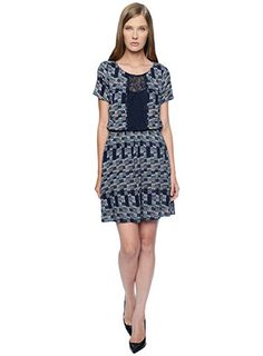 Ella Moss Waverly Print Dress - such a lovely patchwork of blues on this flattering short sleeve dress. Perfect for the Indian summer!