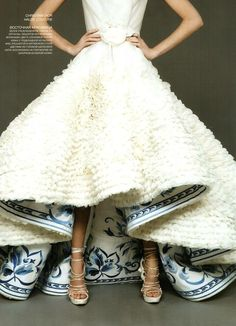 Dior high low wedding dress with something blue detail | The Wedding Scoop Spotlight: Short Wedding Dresses