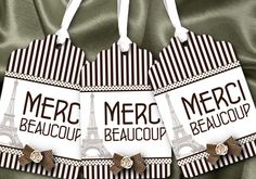 12 Favor Tags, Gift Tag, French Theme, Eiffel Tower, Wedding, Bridal Shower, Baby Shower, Birthday, Brown Stripes. $9.95, via Etsy.