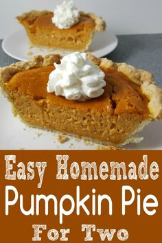 This Pumpkin Pie recipe is the perfect small batch size for two people The crust is buttery and flaky but still crisp and the filling tastes flavorful light and creamy wi. Small Desserts, Köstliche Desserts, Delicious Desserts, Dessert Recipes, Finger Desserts, Mexican Desserts, Yummy Food, Breakfast Recipes, Homemade Pumpkin Pie