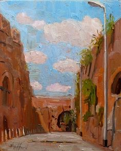 "Aqueduct Alley,  Via Mandrione    8x6""  Oil on Panel  © Kelly Medford, 2012 SOLD"