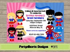 311 DIY Boy And Girl Superhero Party By PartyAllsortsDesigns Twin Birthday Parties Ideas