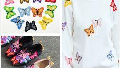 Accesorii pentru lipit pe haine, sub forma de fluturi colorati, set de 10 bucati