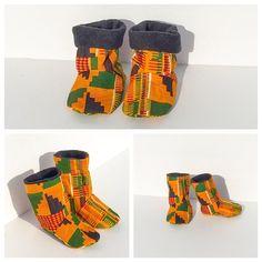 Baby Booties. Kente booties. African Clothing. Baby kente booties. Baby African Winter Booties. Baby Shoes. Lines with Fleece