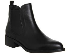 Office Corsa Pointed Low Block Heel Boot Black Leather - Ankle Boots
