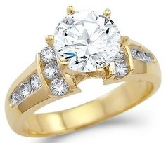 Solid 14k Yellow Gold Round Solitaire CZ Cubic Zirconia Engagement Ring New 2.0 ct Sonia Jewels. $317.00