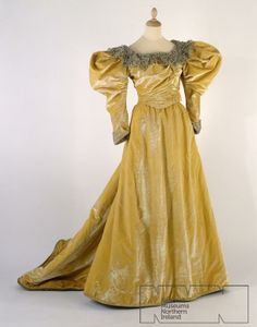 Evening dress, Kate Reilly, late 19th century. [The sleeves suggest the 1890's].