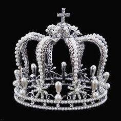 Luxury Vantage plated Silver Rhinestone pearl Wedding Crown Alloy Bridal Tiara Baroque Queen King Crown