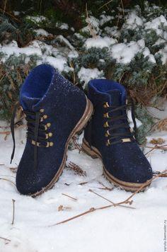 Купить Ботинки мужские валяные Черное море - черный, синий, валенки для улицы
