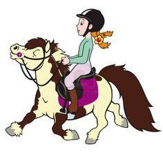 caballo caballo y jinete, niña montando caballo pequeño, deporte ecuestre, imagen de la historieta aislado en el fondo blanco, ilustración infantil, imagen para niños pequeños Foto de archivo