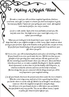 Book of Shadows: BOS Making a Magical Wand page.