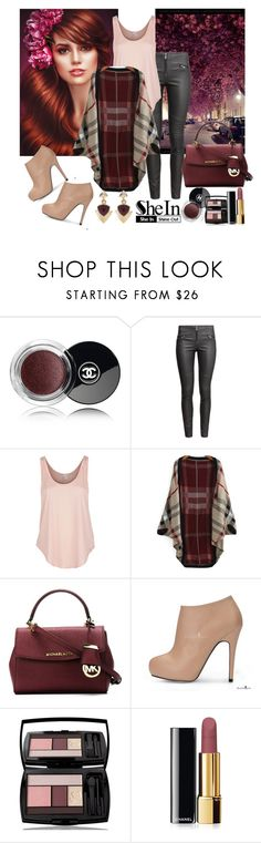 """Shein Red Cardigan"" by diva1 ❤ liked on Polyvore featuring Chanel, H&M, Rip Curl, MICHAEL Michael Kors, Lancôme, White House Black Market, contest, red, Sheinside and cardigan"