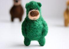 Deep green bear brooch 19 by MistrSandman on Etsy, €26.00