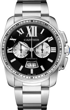 Calibre de Cartier Chronograph watch 42 mm, steel