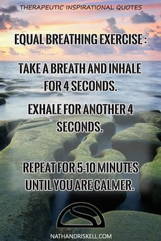 Breathing exercises are great ways to reduce anxiety and improve focus. Equal breathing is simple to do and can be done anywhere. The more you practice, the easier and more efficient it will be. #breathing #stress #relief http://nathandriskell.com