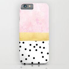 """pink, gold, polka dots iPhone & iPod Case  """"pink, gold, polka dots"""""""