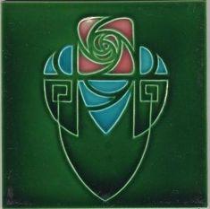 Art Nouveau stylised rose and shield tile, Hemixem Belgium Fleurs Art Nouveau, Motifs Art Nouveau, Azulejos Art Nouveau, Design Art Nouveau, Motif Art Deco, Jugendstil Design, Art Nouveau Tiles, 1 Tattoo, Art And Craft Design