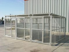 Rhino Dog Kennel w/Roof Shelters & Fight Guard Dividers Dog Kennel Designs, Kennel Ideas, Airline Pet Carrier, Dog Kennel Cover, Dog Pen, Dog Cages, Pet Dogs, Pets, Dog Boarding