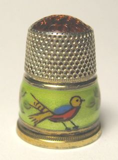 STERLING SILVER THIMBLE - ENAMEL BIRDS AND STONE TOP in Collectibles | eBay / Nov 30, 2014 / US $92.00