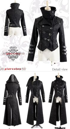 Amazing jacket, love the high collar and attachments for a trench  or hood.