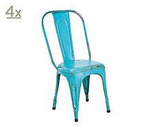 INDUSTRIAL VINTAGE Set de 4 sillas Aix – turquesa