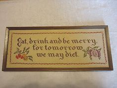 "Vintage Eat Drink And Be Merry picture in frame "" AWESOME COLLECTABLE PICTURE "" #vintage #collectibles #home #kitchen"