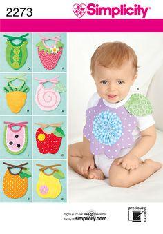 Simplicity pattern 2273: Baby Bibs. Babies sewing pattern.