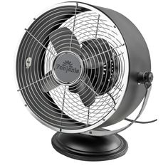 Retro Desk Fan Cooling Air Stainless Steel Black Pedestal Electric Standing