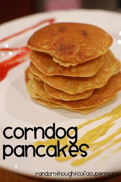 Corndog pancake (not for breakfast)  I am totally going to do this, since I am allergic to every brand of corndog and get a craving every once in a while.