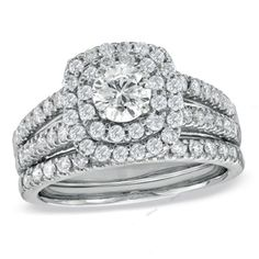 2.20 CT Fishtail Setting With Double Frame Round D/VVS1 Diamond Bridal Ring Set #affoin8