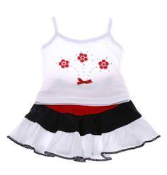 Παιδικά ρούχα AZshop.gr - Βρεφικό σετ μπλούζα-φούστα «Flowers» €7,90