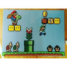Mario scene - Perler beads on canvas by Anca und Pony Bead Patterns, Pearler Bead Patterns, Perler Patterns, Pearler Beads, Fuse Beads, Super Mario, Mario Crafts, Hama Art, Perler Bead Mario