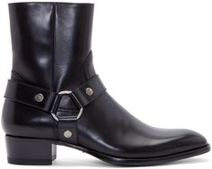 Saint Laurent Bottes noires en cuir à harnais Wyatt