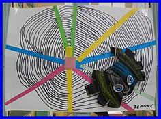 """Teranyina, a partir del conte """"The very busy spider"""" de Eric Carle. També es pot fer amb cartolina negre i la teranyina amb l'aplicador de divermàgic blanc!"""