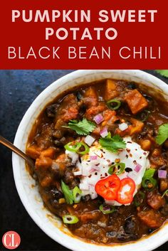 The ultimate vegetarian chili powered by fall flavors. Sweet potato, black beans, and plenty of aromatics simmer in a velvety, pumpkin-infused tomato broth that is ultra rich and comforting. A pinch of cinnamon and dash of chipotle chili powder add a robust flavor profile that will warm you up from the inside out. Add any pumpkin-flavored beer you like. | Cooking Light
