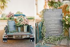 Chalkboard menu arranged with hay and flowers in bed of old truck |Melissa + Jay | Lisa Lefkowitz | Fine Art Photography | Journal
