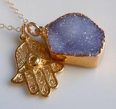 Druzy Jewelry : Hamsa Necklace
