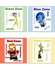 Inside Out Themed Zones of Regulation Cards by Teacher Resource Network Best Picture For Teacher Resources kindergarten For Your Taste You are looking for something, and it is going to tell you exactl Social Emotional Activities, Emotions Activities, Therapy Activities, Preschool Activities, Articulation Activities, Play Therapy, Speech Therapy, Emotions Preschool, Teaching Emotions