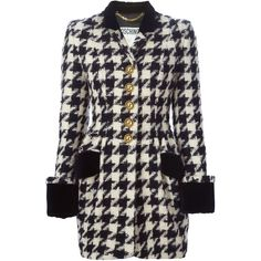 Moschino Vintage Houndstooth Coat found on Polyvore featuring outerwear, coats, jackets, casacos, coats & jackets, black, black coat, wool blend coat, hounds tooth coat and houndstooth coat