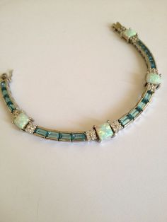 Vintage Sterling Silver Aquamarine and Opal Estate Jewelry Bracelet, via Etsy.