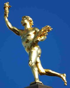 The Golden Boy is found on top of the Manitoba legislative building in Winnipeg, Manitoba, Canada. Capital Of Canada, O Canada, The Golden Boy, Eternal Youth, Canadian History, Roadside Attractions, Cool Countries, Continents, Sculptures