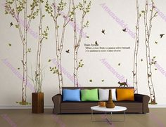 Rain forest decals:wall decals, nature wall decals, vinyl wall decal, nature wall decal stickers, brich tree, nursery wall stickers