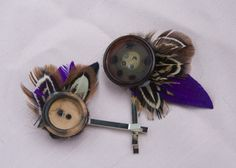 Button feather hairpins