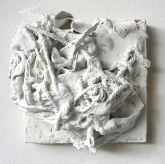 """Haphazard Facade 24"" encaustic latex paint oil paint acrylic gesso painter's tape construction paper newspaper polyester chiffon cotton yarn found animal bones candy wrappers chewing gum wrappers on wood panel 6""x6""x5"" . . . #foundobjectart #foundobject #mixedmedia #knitting #fiberarts #contemporaryart #contemporarysculpture #durm #durhamnc #sculpture #contemporarysculpture #ncart #artcollector #abstract #abstractart #raleigh #chapelhill #design #interiordesign #artstudio #fineart #instaart…"