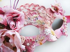 Fairy Masquerade Mask, Pink Roses Venetian Mask, Fantasy Lace Headpiece by ElvenDesignArt designed in Romania