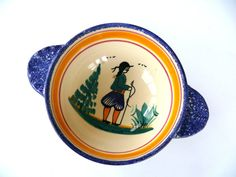 Ceramic Quimper Lug Bowl Cafe Au Lait Bowl French by FrenchCandy