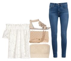 """""""Off the shoulder"""" by boobear1998 ❤ liked on Polyvore featuring Hanky Panky, Paige Denim, Sole Society and Chanel"""