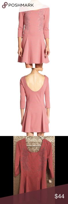 """NWOT Free People Sz L Nautical Striped Lace Dress 🔹Free People  🔹""""Nautical Striped Lace Appliqué Jersey Dress""""  🔹Size Large  🔹New without tags! Originally $128!  🔹Polyester, rayon, spandex   🔹Bust: 18.5"""" across the front, lying flat. Has stretch.  🔹Length: 36"""" from top to bottom hem.  ✳️ Bundle to Save 20%!  ❌ No Trades, Holds, PP, Modeling  🎀 100% Authentic!   ⭐️⭐️ Suggested User • 2000+ Sales • Fast Shipper • Best in Gifts Party Host! ⭐️⭐️ Free People Dresses"""
