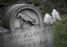 Gravestone for Edgar Allan Poe, Baltimore, Md Cemetery Headstones, Old Cemeteries, Cemetery Art, Graveyards, Edgar Allan Poe, Concord, Quoth The Raven, Famous Graves, Enigma